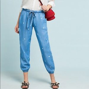 Anthropologie Cloth & Stone Dotted Chambray Jogger